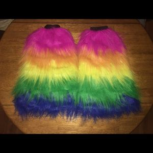 🌈Leg Avenue Multicolor Fuzzy Leg Warmers💖